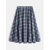Vintage Women Loose Causal Big Swing Plaid Skirt