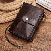 Men Gneuine Leather RFID Blocking Anti-theft Chain Wallet