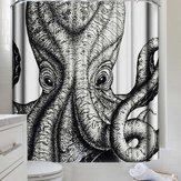 3D черно-белый занавес для душа каракатицы Водонепроницаемы моющиеся шторы для ванной с 12 крючками