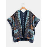 Women Printed Cardigan Shawl V-neck Sweaters