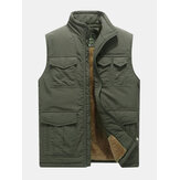 Mens Mutil Pockets Outdoor Fleece Liner Thickened Warm Vest