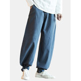 Mens Cotton Pure Color Elastic Waist Loose Comfy Casual Pant