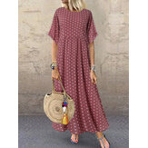 Women Polka Dot Print Short Sleeve O-neck Maxi Dress