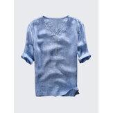 Mens Vintage V Neck 100% Cotton Casual T-shirts