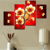 4PCS Modern Abstract Oil Paintings Flowers Huge Wall Decor Art On Canvas No Frame