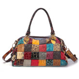 Women Bohemian Large Capacity Genuine Leather Handbag Patchwork Handmade Crossbody Bags