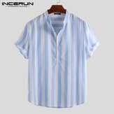 Men's Collarless Striped Shirts Short Sleeve Casual Linen Button Down Tees Tops