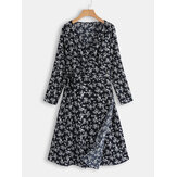 Plus Size Women V-neck Long Sleeve Elegant Floral Dress