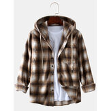 Men's New Fashion Plaid Printing Loose Sanding Hooded Long-sleeved Shirt