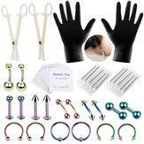 42 STKS Professionele Body Piercing Tool Kit Oor Neus Navel Tepel Naalden Set