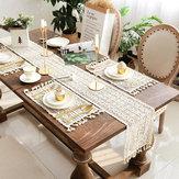 Bege Crochet Lace Table Runner Tassel Decorações de casamento Oco Toalha de mesa Decoração de festa