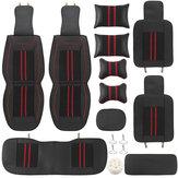 Univerzális autó 5 üléses PU bőr fekete / piros teljes térhatású takaró szőnyegpárna