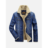 Heren Winter Dikke Warme Fleece Multi Pocket Denim Blue Jacket