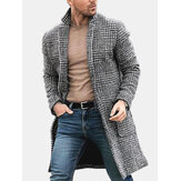 Mens Plaid Black White Pockets Big Turn Down Collar Coats