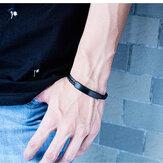 Titanium Steel Men's Woven Leather Bracelet