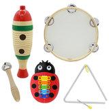 Conjunto de 5 peças Orff Instrumentos musicais Sapo de peixe / Pandeiro manual / Sino de barra única / Triângulo musical Ferro / Besouro Piano de alumínio com cinco tons