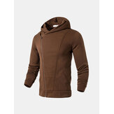Mens Zip Up Pure Color Soft Sport Hoodies Sweatshirts