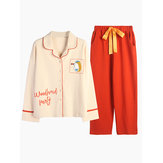Long Sleeve Cotton Pajamas Button-Down 2-Piece Pajama Set