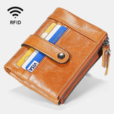 Men Genuine Leather RFID Zipper Wallet 15 Card Slots