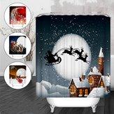 Natal Snowman Waterproof Fabric Kamar Mandi Shower Curtain Dengan 12 Hook