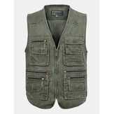 Mens Outdooors Visserij Solid Color Multi Pocket Photojournalist Katoen Vest Vesten Grote Maat M-5XL