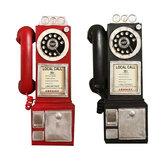 30cm zwarte vintage draaiknop telefoon standbeeld model telefooncel beeldje decoraties
