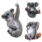 Cute Koala Hanging Swing Tree Ornament Figurine Statues Garden Sculptures Decorations