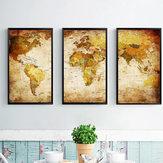 Arte decorativa da parede do mapa do mundo das pinturas da combinação de Miico três pintados à mão para a decoração home