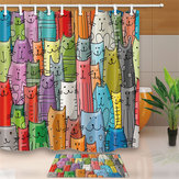 Cartoon Cute Cat Waterproof Polyester Bathroom Decor Shower Curtain & Bath Mat