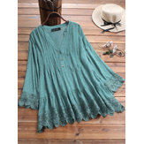 Lace Pleated V-neck Blouse