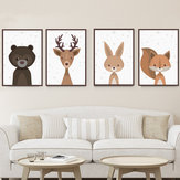 Cartoon Fox Animal Canvas Poster Nordic Art Prints Baby Kids Room Wall Sticker Decor