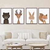 Raposa dos desenhos animados Animal Canvas Poster Nordic Art Prints Baby Kids Room Adesivo de parede Decoração
