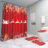 Christmas Decorations 180x180cm Shower Curtain Mat Bathroom Anti-slip Carpet Rug