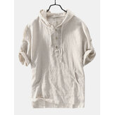 Mens Striped Vintage 100% Cotton Hooded T-Shirts