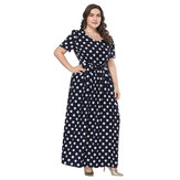 Polka Dot Print Short Sleeve Crew Neck Maxi Dress with Belt