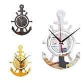 3D Âncora Timoneiro Marinheiro Navio pirata Estilo Mediterrâneo Personalidade de parede Relógio