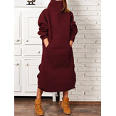 High Neck Casual Solid Long Sweatshirt Midi Dress