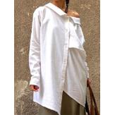 Асимметричная пуговица с длинным рукавом Свободные рубашки Plus размера