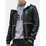 Men Lapel Thickening Fur PU Jacket Coat