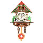 Классическая Кукушка Деревянная Стена Висит Chic Swing Часы Сигнализация Корова Собака Kid Home Decor