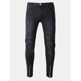 Biker Fold Holes Zipper Slim Ripped Jeans