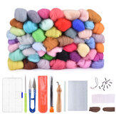 50 Color DIY Wool Felt Kit Needles Tool Set Handmade Needle Felting Mat Starter Fabric Sewing Kit for DIY Felting Craft Project