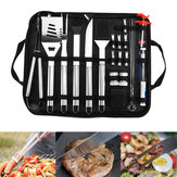 25Pcs Stainless Steel BBQ Tools Set Barbecue Accessories Tableware Outdoor Camping Cooking Tools Kit