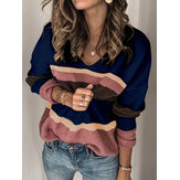 Casual Loose Women Contraste Cor Pullover V-Neck Sweaters