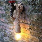 Vintage Industrial Water Pipe Wall Lamp Sconce Hemp Rope Pendant Light Fixture