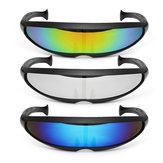 Partido Óculos Novidade Ciclope futurista espelhado Óculos de sol Monobloco Alienígena