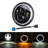7'' 75W 6000K DRL Amber Halo Angle Eyes Projector LED Round Headlights Hi/Lo Beam Turn signal Light For Harley/Yamaha/Jeep