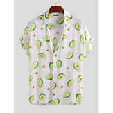 Herre Avocado-trykt sommer Hawaii-stil Casual Vacation Fashion skjorter