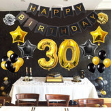 1/30/40/50/60/70/80 Adult Kid Birthday Banner Foil Balloons Set Party Decorations