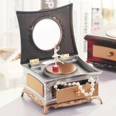 Classical Rotating Girl Music Box Jewelry Storage Box & Makeup Mirror Kids Decorations